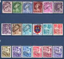 1922/60 France Préoblitérés Sans Gomme N°43,51/3,78,80/1,95,101,105/12,119      1 €  (cote 10,15 €  18 Valeurs) - Préoblitérés