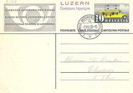 "Schweiz Suisse 1938: Bild-PK ""AUTOMOBIL-POSTBUREAU"" O 1. SCHWEIZ. AUTOMOBIL-POSTBUREAU 7.VII.38 LUZERN Concours Hippique - Hippisme"