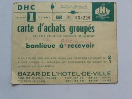 VIEUX PAPIERS - CARTE D'ACHATS GROUPES : BHV Bazar De 'Hôtel De Ville - Publicidad
