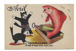 Carte Postale Ancienne Fantaisie - 1er Avril - Poisson -chat - 1 De April (pescado De Abril)