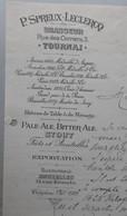BRASSERIE Tournai, Brasseur P. Spreux-Leclercq, Rue Des Corriers, Futs Et Bouteilles, 30 Octobre 1901 - 1900 – 1949