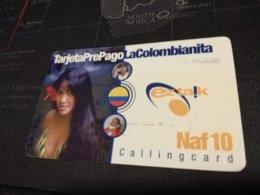 CURACAO NAF 10,- PREPAID EZ TALK  WOMAN LA COLOMBIANITA  THICK CARD  FINE  USED      ** 1695** - Antille (Olandesi)
