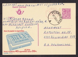 Belgium: Stationery Postcard, 1983, Red Value Overprint, Commercial Imprint Cigarette Paper, Smoking (traces Of Use) - Belgio
