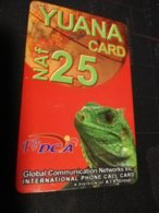 CURACAO NAF 25,- YUANA CARD LIZZARD  RED   FINE  USED      ** 1700** - Antille (Olandesi)