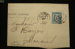 Perfin Lochung Sage 25c Perforé Triangle Sur Lettre Credit Lyonnais Grenoble 2/11/1877 - Perfin