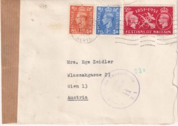 GRANDE-BRETAGNE 1951 LETTRE CENSUREE DE ST.ALBAN - 1902-1951 (Kings)