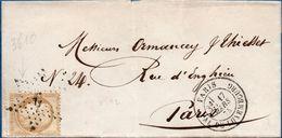 France 1875 Ceres 15 C (gross Chiffre) étoile 6, Pal(ais) Du Luxembourg (Senat) Sur Couverture Pour Paris 2004.2310 - 1871-1875 Cérès