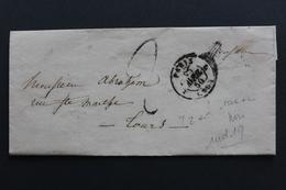 1850 LAC PARIS CAD NOIR 25 AVRIL 1850 POUR TOURS CAD ARRIVE DU25 AVRIL 1850 TAXE MANUSCRITE 2 DECIMES.. - 1849-1876: Période Classique