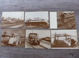 Lot De 5 Cartes Postales CURIOSITES FERROVIAIRES Drasine A Hélice Vélorail Autocar Sur Rail Camionette Citroen  Rosalie - Otros