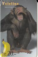 SWITZERLAND - Chimpanzee, Teleline Prepaid Card Fr. 20, Used - Ohne Zuordnung