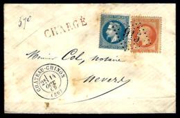 LETTRE EN PROVENANCE DE -  CHÂTEAU CHINON - 20c + 40c - POUR NEVERS - CHARGÉ - - 1863-1870 Napoléon III Lauré