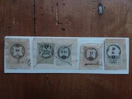 AUSTRIA 1870 - 5 Marche Da Bollo Su Frammento + Spese Postali - Fiscale Zegels