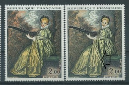 [39] Variété N° 1765 Watteau Robe Jaune Pâle Au Lieu De Jaune Et Jaune-orange + Normal ** - Varieties: 1970-79 Mint/hinged