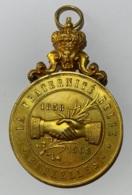 Médaille Avec Bélière Décorative. La Fraternité Belge. Bruxelles. Sécours Mutuels. 50ème Anniversaire 1908 - Firma's