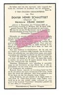 D 958. DOKTER HENRI SCHAUTTEET Echtg. C. Dhont - °KNESSELAERE 1865 /+ WINGENE 1938 - Devotion Images