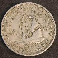 BRITISH CARIBBEAN TERRITORIES - 25 CENTS 1955 - Elizabeth II - 1ère Effigie - KM 6 - East Caribbean States
