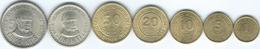 Peru - Inti - 1 (1985) 5 (1985) 10 (1986) 20 (1986) & 50 Céntimos (1988) 1 (1988) & 5 Inti (1988) (KMs 291-296 & KM300) - Perú