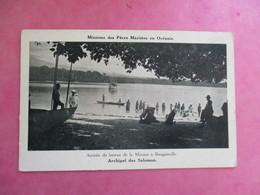 CPA ARCHIPEL DES SALOMON ARRIVÉE BATEAU A BOUGAINVILLE  DES PÈRES MARISTES EN OCÉANIE - Solomoneilanden