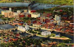 Iowa Cedar Rapids Aerial View Of Loop District Municipal Island And Quaker Oats Plant Curteich - Cedar Rapids