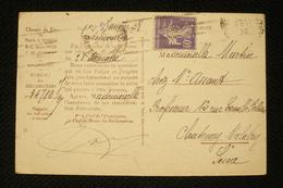 Perfin France Semeuse 40c Violet  Perforé Lochung PO Sur CP Chemin De Fer Paris Orléans 1928 - France