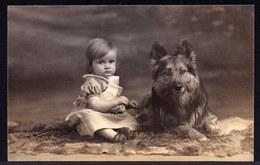VIEILLE CARTE PHOTO (1929) FILLETTE AVEC CHIEN BERGER TERVUEREN - TERVUERENSE HERDER - GIRL WITH DOG - Foto Maes Tielt - Chiens