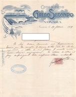 """010425 """"NOVARA - COTONIFICIO - GALLO SECONDO""""  ANIMATA, STABILIMENTO, MARCA DI FABBRICA. DOC. COMM.LE  1909 - Italia"""