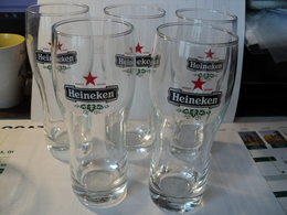 LOT DE 5 VERRES A BIERE HEINEKEN. 25 CL. - Glasses