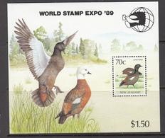 BIRDS Vogel Oiseaux 1989 New Zealand Expo Ducks Mi Bl 19  MNH (**) #21278 - Canards