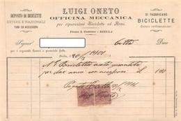 """010430 """"BIELLA - LUIGI ONETO - OFFICINA MECCANICA PER RIPARAZIONI BICICLETTE ED ARMI """"  DOC. COMM.LE 1901 - Italia"""
