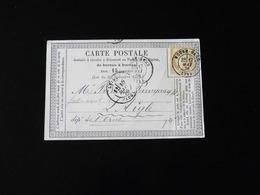 CARTE PRECURSEUR  DE ROUEN POUR L'AIGLE  -  1876  - - Voorloper Kaarten