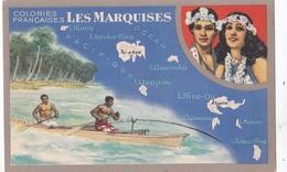 """Colonies Françaises : ILES MARQUISES   Carte """" Lion Noir """" - Polynésie Française"""