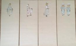 12 Marque-Pages, Illustrateur, Femmes, élégantes, Fillettes Etc, Bordures / Tranches Dorées - Marcapáginas