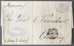 Espagne, Lettre D'Alicante 1883 Pour Chagny - (C1246) - Cartas