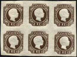 PORTUGAL, 1856/58, KING PEDRO V, CE#10X6, REPRINT OF 1863, WITH CERTIFICATE OF EXPERTIZATION, MNH/MH - Errors, Freaks & Oddities (EFO)