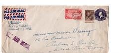 USA ETATS UNIS AFFRANCHISSEMENT COMPOSE SUR LETTRE DE SANTA BARBARA POUR LA FRANCE 1946 - Etats-Unis