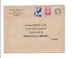 ALGERIE AFFRANCHISSEMENT COMPOSE SUR LETTRE A EN TETE DE ALGER POUR LA FRANCE 1947 - Covers & Documents