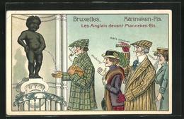 Präge-AK Bruxelles, Les Anglais Devant Manneken-Pis - Humour