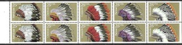 US 1990   Sc#2505a  25c Indian Headdress Booklet Pane Of 10  MNH  Face Value $2.50 - United States