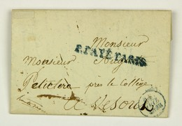 LAC 1828 Pour Vesoul, Timbre Bleu P.Payé Pais Et Paraphe Imprimé De Franchise Au Verso - Marcophilie (Lettres)