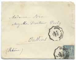 15c SAGE SUR ENVELOPPE / CONVOYEUR LUNEL A CETTE POUR OULLINS / 1899 - 1877-1920: Semi-Moderne
