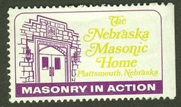 """Freimaurer Maconnique Massone Freemasonry """" Plattsmouth Nebraska Home USA """" Vignette Cinderella Reklamemarke - Erinnophilie"""