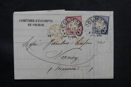 FRANCE / ALLEMAGNE - Lettre De Colmar Pour Nancy En 1874, Affranchissement Plaisant, Oblitération Fer à Cheval - L 59500 - Marcophilie (Lettres)