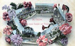 46  FIGEAC  DE FIGEAC JE VOUS ENVOIE CES FLEURS   (DOS TACHE) - Figeac