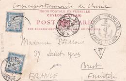 Corps Expéditionnaire De CHINE 1903 + Cachet Marine Française Service à La Mer + Timbre Taxe à L'arrivée En France China - Lettres & Documents