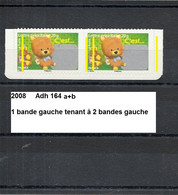 Variété Paire Adhésifs De 2008 Neuf** Y&T N° 164 Bande Gauche Tenant à 2 Bandes Gauche - Variétés Et Curiosités