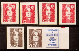 1990/93  Autoadhésifs  N° 1-2-3-4-5-5b  Neufs** (cote Yvert: 36.50€) - Frankreich