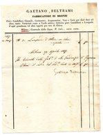 CG - Ditta Gaetano Beltrami Fabbricatore Di Bronzi - Milano- Fattura Del 27/4/1837 - Italia