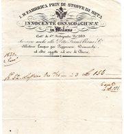 CG - Ditta Innocente Osnago - I.R. Fabbrica Priv. Di Stoffe Di Seta - Milano - Fattura Del 2/1/1826 - Italia