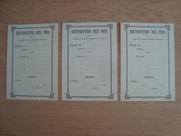 LOT DE 3 DOCUMENTS ANCIENS DISTRIBUTION DES PRIX - Vieux Papiers