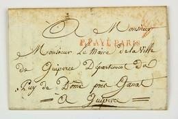 LAC 1793 P.PAYE PARIS Rouge, Paraphe Imprimé De Franchise Pour Aigueperse Puy De Dôme - Marcophilie (Lettres)